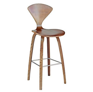 Walnut-Finish-Wooden-Curved-Molded-Plywood-Counter-Stool-Norman-Stl-25-Seat-Hgt