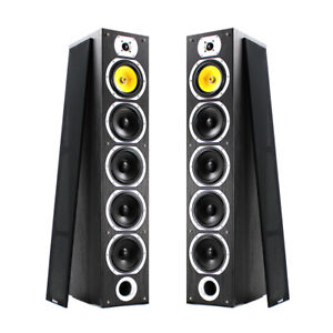 Home-Stereo-HiFi-Tower-Tall-Boy-Floor-Standing-Speakers-600W-Black-4-Woofers