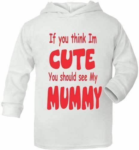Think I/'m Cute See My Mummy Cute Present Baby New Born Gift  Supersoft Baby Hood