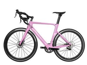 52cm-Road-Bike-Full-Carbon-Disc-Brake-700C-Race-Frame-Alloy-Wheels-Clincher-Pink