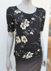 Next-Womens-Black-Mix-Floral-Jersey-Top-size-8-Petite