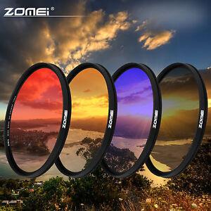 Zomei-40-5-49-52-58-77-82mm-Ultra-slim-Graduated-Grey-Blue-Orange-Red-Filter-set