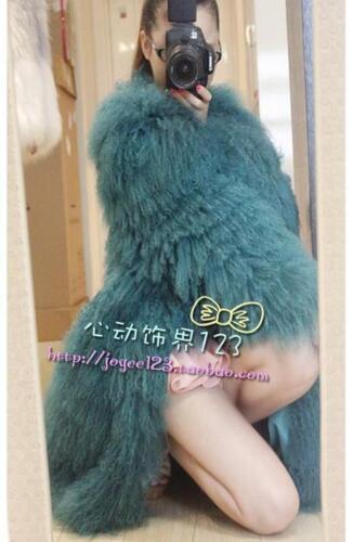 100/%Real Sheep Fur Lamb Fur long Coat Mongolian Fur Coat Jacket -Multi-Colored