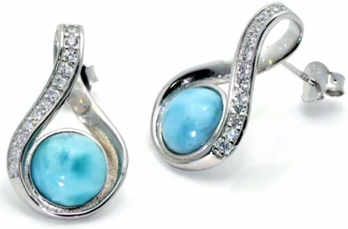 Natural Larimar Earring and Necklace Set White Sapphire .925 Sterling Silver