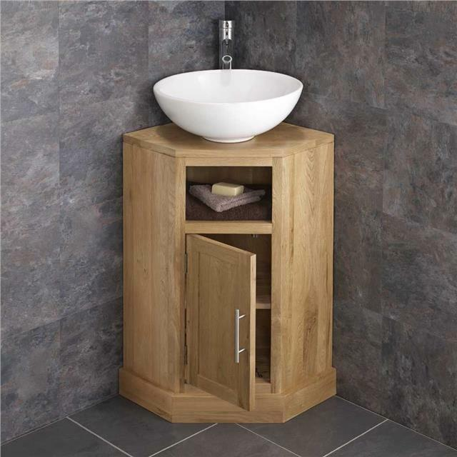 Solid Oak Space Saving Corner Bathroom Freestang Vanity Unit Round Basin Sink