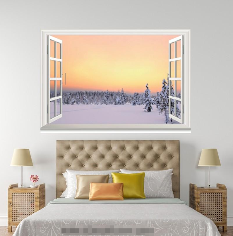 3D Sunset Sky Snow Road 1102 Open Windows WallPaper Murals Wall Print AJ Carly