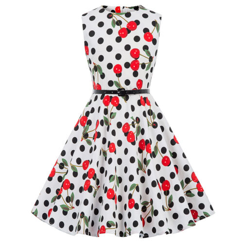 Formal Girl Floral Dress 60s Vintage Swing Evening Kids Party Gown Dress 24style