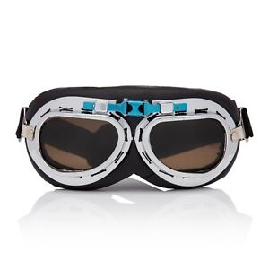 Silver-Brown-Flying-Motorcycle-Scooter-Goggles-Retro-Vintage-Steampunk-Glasses