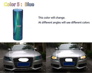 Pair 1M Chameleon Neo Blue Headlight Color Glass//Plastic Lens Tint Film Wrap