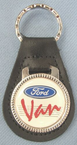White FORD VAN Black Leather #3192 Key ring Key Fob 1961 1962 1963 1964 1965