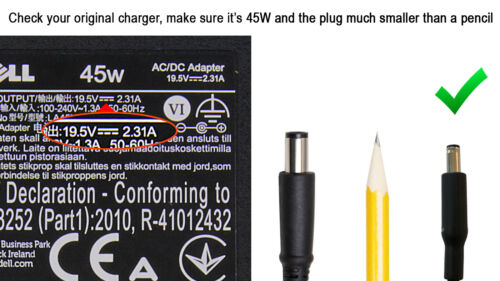 Genuine Dell 19.50 V 2.31 A 45W Small Plug AC Chager Power Adapter