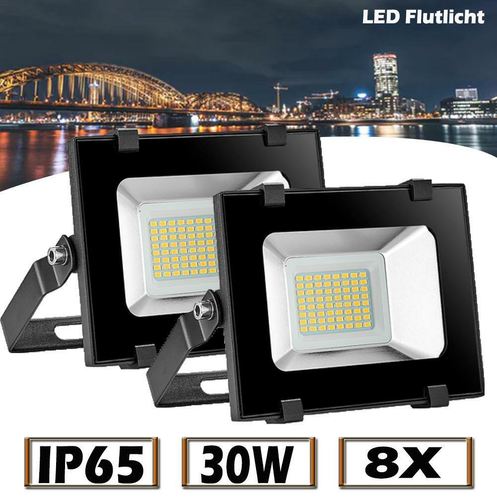 8X 30W LED Fluter Strahler Flutlicht DC12 Volt warmweiß Außen Scheinwerfer Lampe