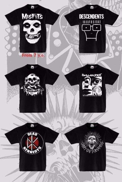 Kids T-shirt Punk Rock De Tous Âges 3 to13 ans unisexe Crânes décharge Alternative