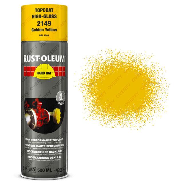 X5 Industriale Rust-Oleum Giallo Oro Vernice Spray Hard Cappello 500ml Ral 1004