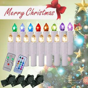 10er 100er kabellose led weihnachtskerzen kerzen christbaumkerzen lichterkette ebay - Baumkerzen led kabellos ...