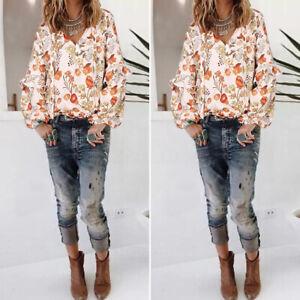 Mode-Femme-Imprime-Floral-Loisir-Ample-Manche-Longue-Col-V-Haut-Shirt-Tops-Plus