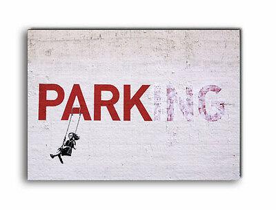 street art banksy en bois signe Banksy parking swing girl signe