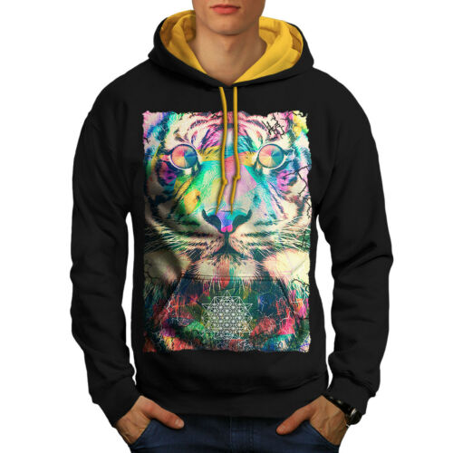 Psychedelic Tiger Animal Hommes Contraste à Capuche Newwellcoda