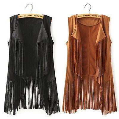 Women Hippie Suedette Waistcoat Top Sleeveless Tassel  Fringed Vest Lapel Jacket