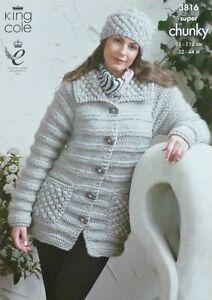 Knitting Pattern Ladies Long Coat : KNITTING PATTERN Ladies Long Sleeve Coat and Hat Super ...