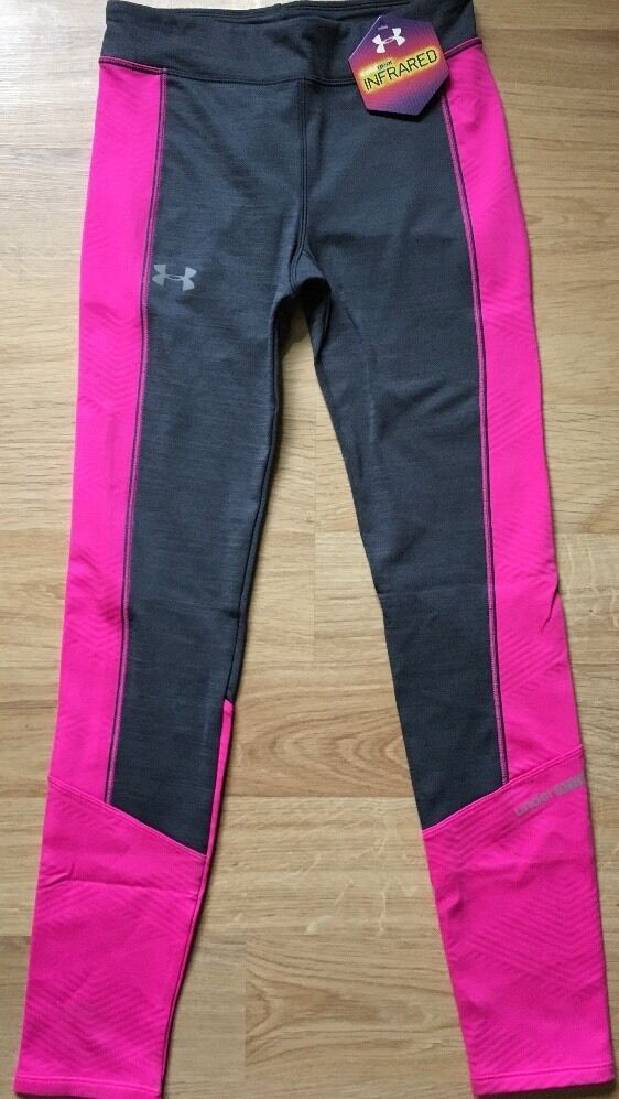 Under Armour Pants Youth Medium Cold Gear Infrarosso rosa And Gris