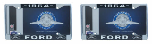 Set of 2 1964 Ford License Plate Frame Chrome Finish with Blue and White Script