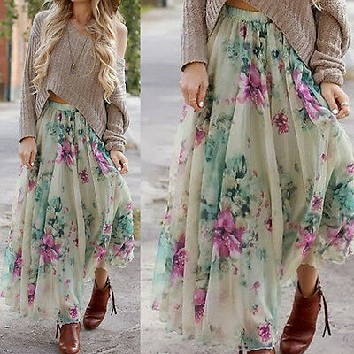 2017 Womens Boho Floral Skirt Maxi Skirts Summer Beach Long Casual Skirt Dress