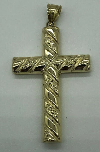 Fully Hallmarked 375 9ct Yellow Gold Ribbed Cross