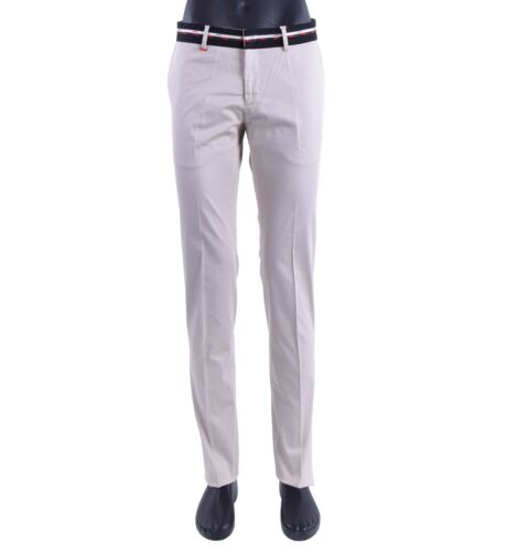 MOSCHINO 30 YEARS Slim Fit Summer Cotton Trousers Pants w Logo Beige Black 05414