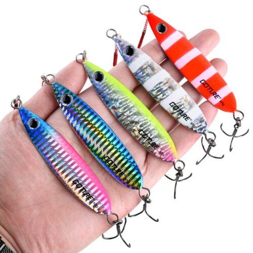 5pcs//lot Metal Jig Lures 40g 60g Vertical Bait Butterfly Jigging Saltwater Tuna