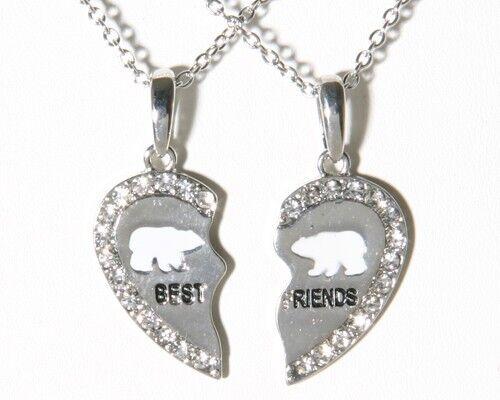 NEW BEST FRIEND Polar Bear Heart Rhinestone 2 Pendants Necklace BFF Friendship