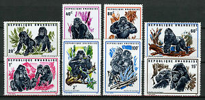 Rwanda-1970-MNH-Mountain-Gorillas-8v-Set-Wild-Animals-Stamps