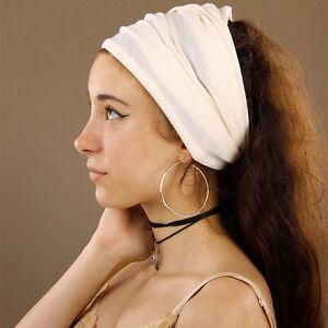 Versatile-Cream-Seamless-Stretchy-Tube-Headband-Extra-Wide-Boho-Hippy-Dreadlocks