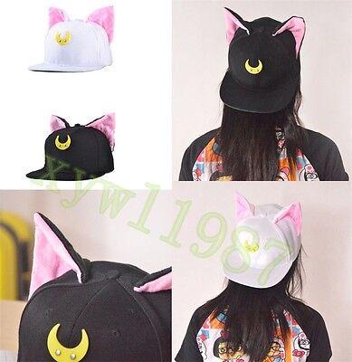 Sailor Moon Cat Luna Artemis Black White Baseball Cute Cap Hat Canvas Adjustable