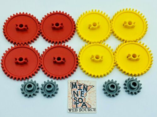 Red /& Yellow Crown Med /& Small Gray K/'nex Parts Assortment 12 Knex Gear Lot
