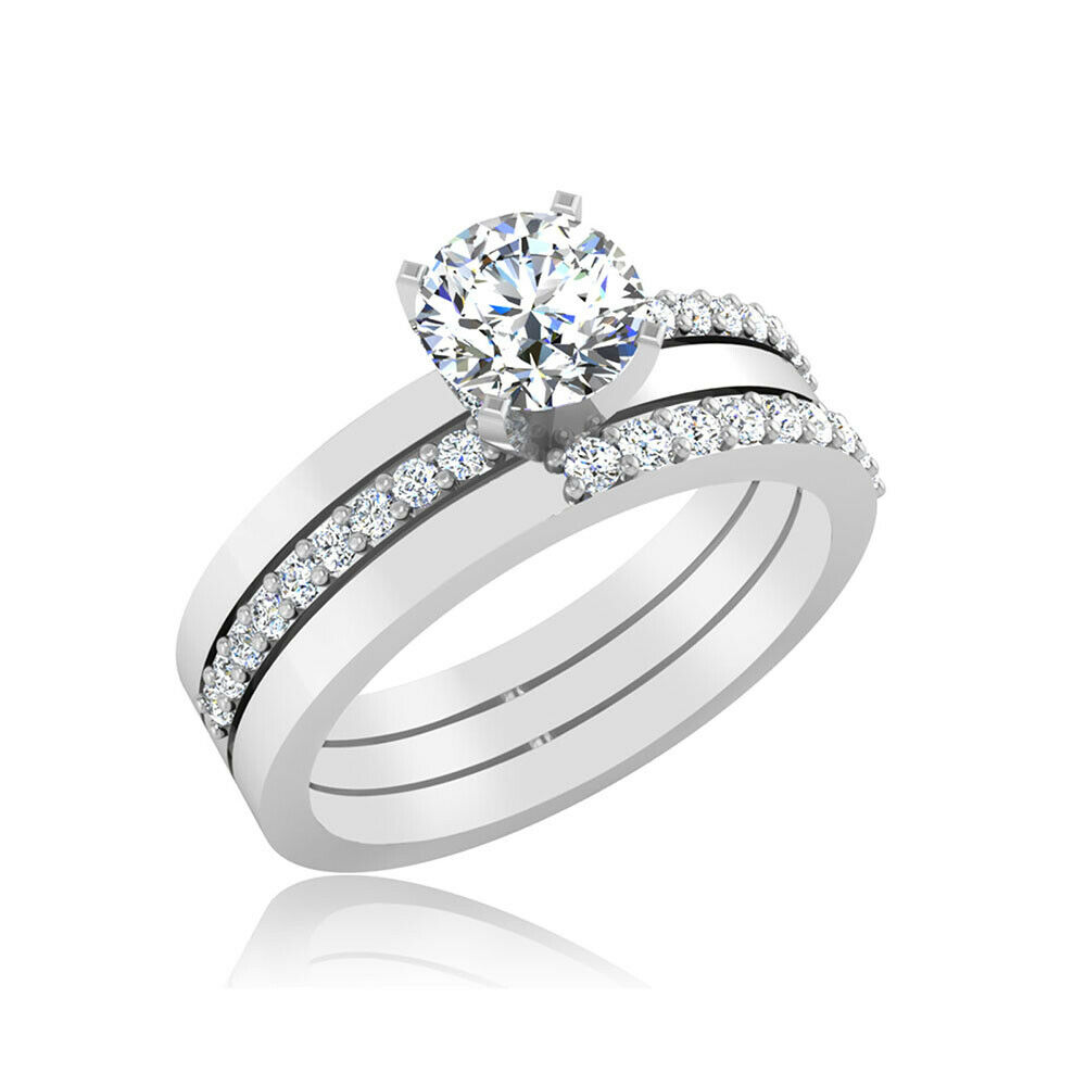 Round Cut Solitaire Real Diamond 0.60 Ct Wedding Rings 14K Solid White gold 7 8