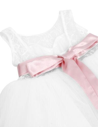 UK Kids Flower Girl Dress Bridesmaid Wedding Princess Formal Party Lace Dresses
