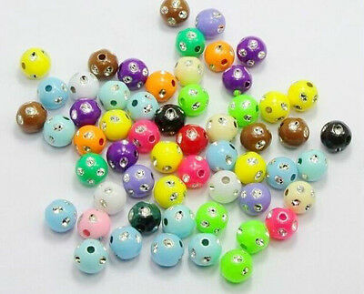Free 200/1000Pcs Mixed Acrylic Spacer Beads Charms Jewelry Making Findings 5mm