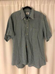 Men-039-s-Lacoste-Blue-Green-Check-Gingham-Button-Front-Shirt-Size-44-U-S-XL-Cotton