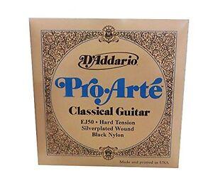 D-039-Addario-EJ50-Pro-Arte-Noir-Nylon-Guitare-Classique-Cordes-HARD-TENSION
