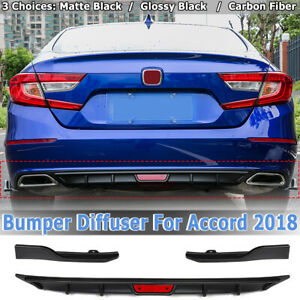Rear-Bumper-Cover-Glossy-Black-Lip-Diffuser-Spoiler-Wing-For-Honda-Accord-2018