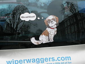 SHI-SHI-SHIH-TZU-DOG-LOVER-CAR-STICKER-NOVELTY-GIFT-COLLECTABLE-WITH-WIPER-WAGGI