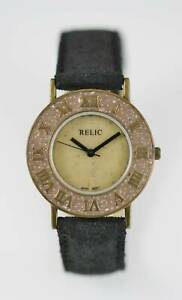Relic Watch Mens Stainless Steel Gold Water Resist Battery Black Leather Quartz
