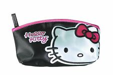 Sanrio Hello Kitty Black Patent Leather Big Face Cosmetic Pouch Pencil Case NWT