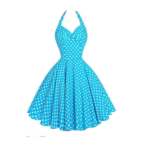 Womens 1950s 60s Vintage Halter V-Neck Rockabilly Prom Swing Evening Party Dress