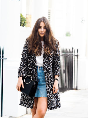 Topshop Leopard Print Slim Fit Boyfriend Wool Biker Jacket Winter Coat 4,6,8 £85