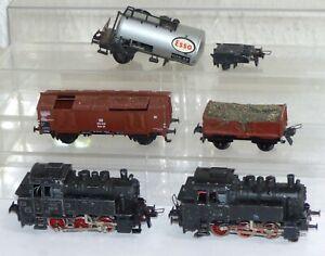 5-tlg-Trix-Express-Bastler-Konvolut-2x-Dampflok-80-018-und-Gueterwagen-H0