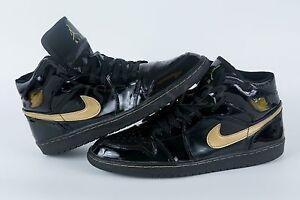 f0b20e61a5a0 2003 Air Jordan 1 (I) Retro Patent Leather Black   Metallic Gold ...