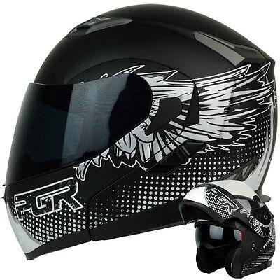 L ~ F99 HERO MATTE BLACK WHITE MODULAR Dual Visor DOT Motorcycle Helmet