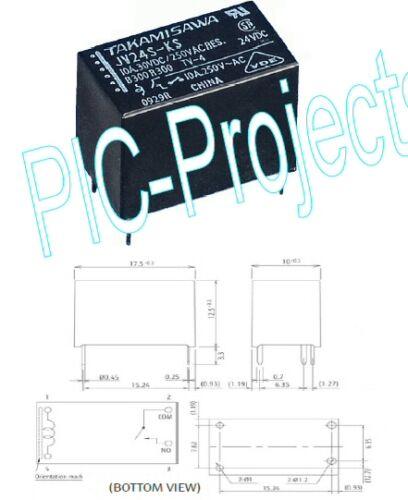 5 Amp Contactos 12v voltios relé Bobina 5a Power spno de enlace de montaje PCB jvs12 Fujitsu